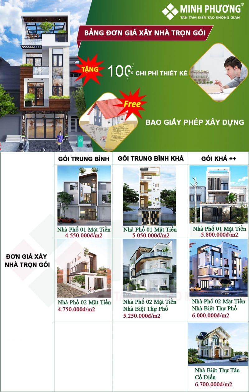 đơn giá xây nhà trọn gói năm 2021
