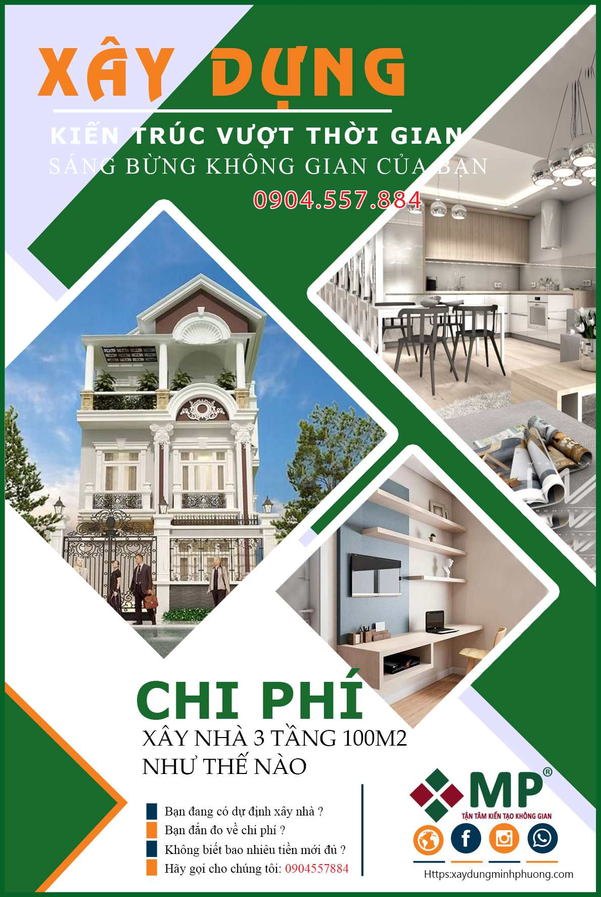 Chi phí thiết kế xây dựng nhà 3 tầng 100m2