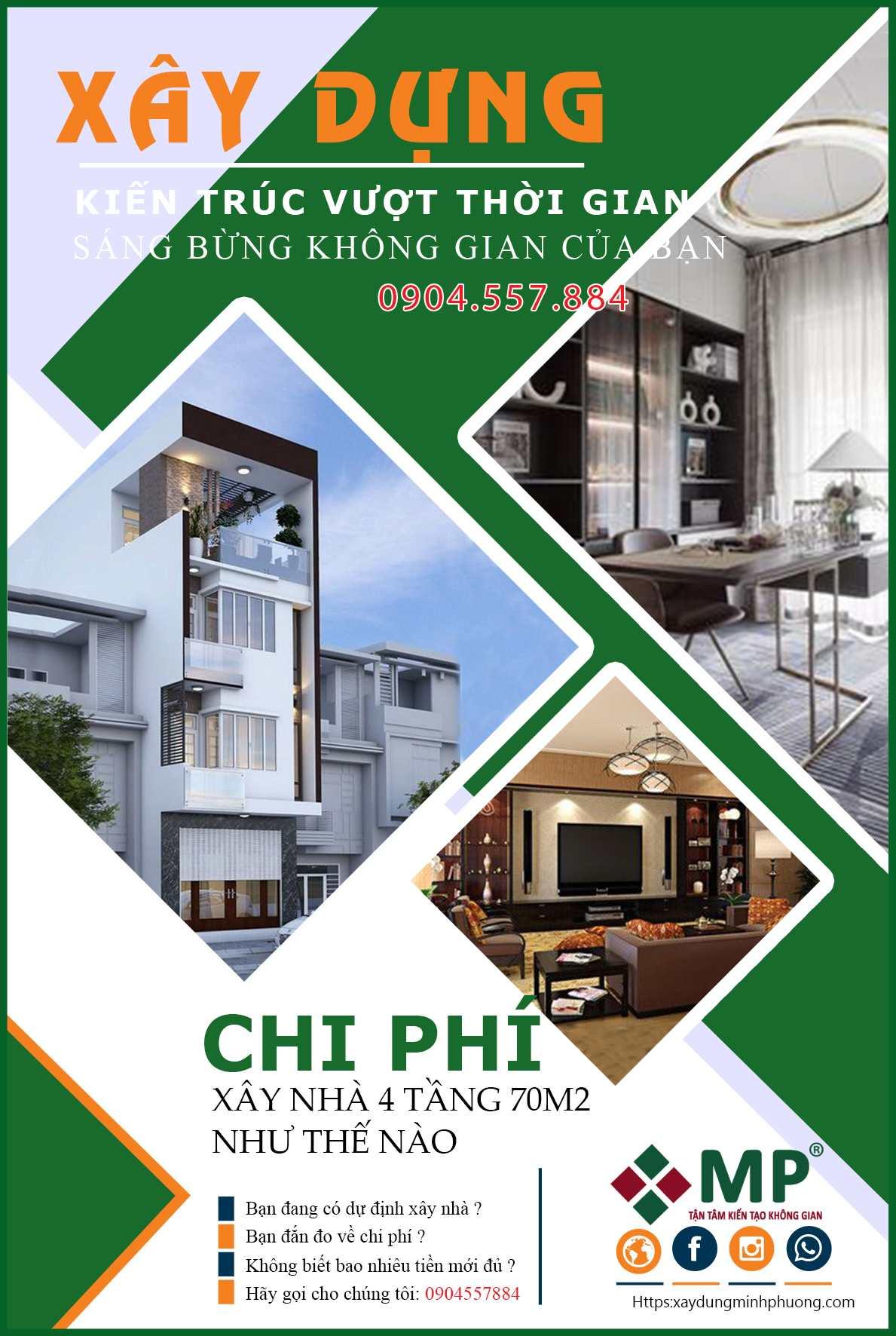 Chi phí thiết kế xây dựng nhà 4 tầng 70m2