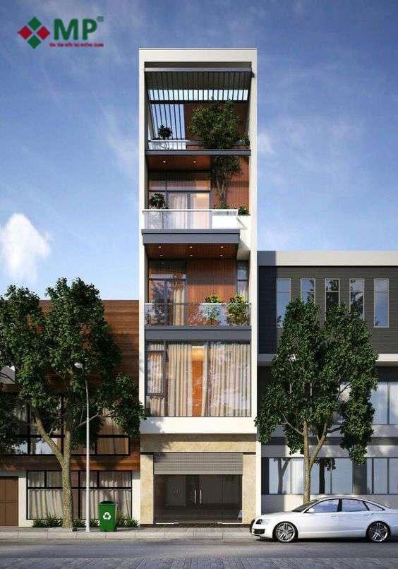 Mẫu nhà phố 1 trệt 1 lửng 2 lầu 1 sân thượng đẹp