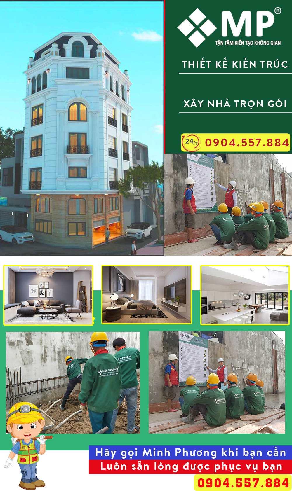 chi phí xây nhà biệt thự 2 tầng 110m2