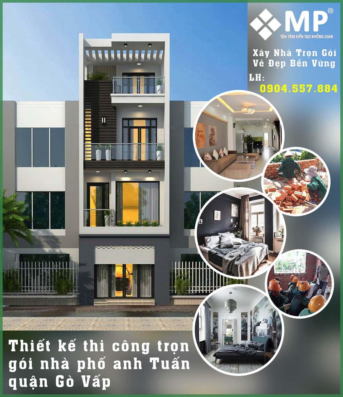 <center>Xây dựng nhà phố trọn gói 4 tầng gò vấp anh Tuấn</center>