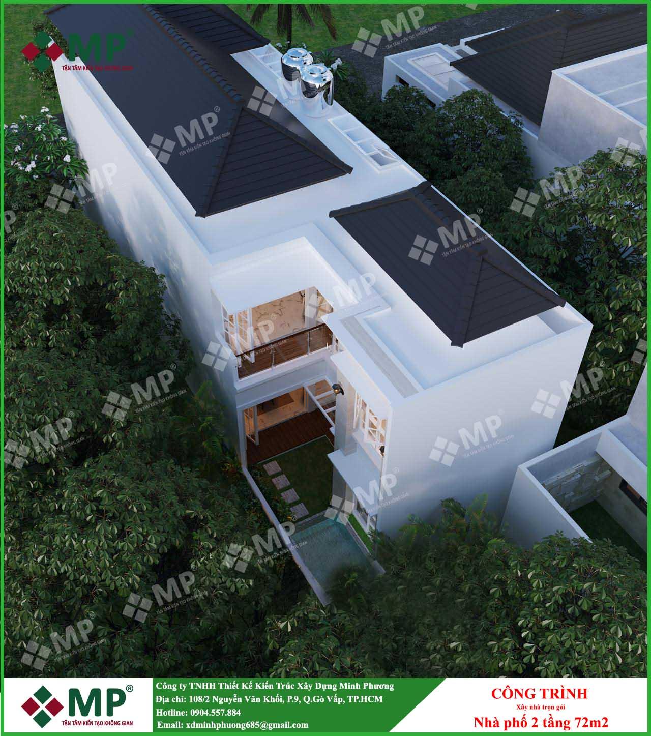 xây nhà phố trọn gói 2 tầng