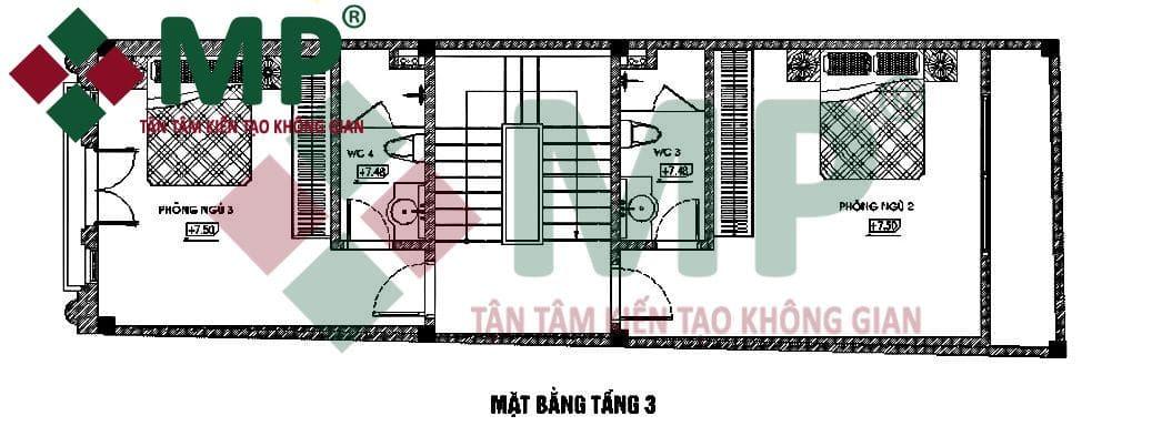 Mặt bằng tầng 3 xây trọn gói nhà phố 5x16