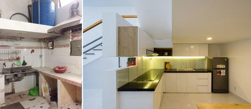 Phòng bếp trước và sau cải tạo