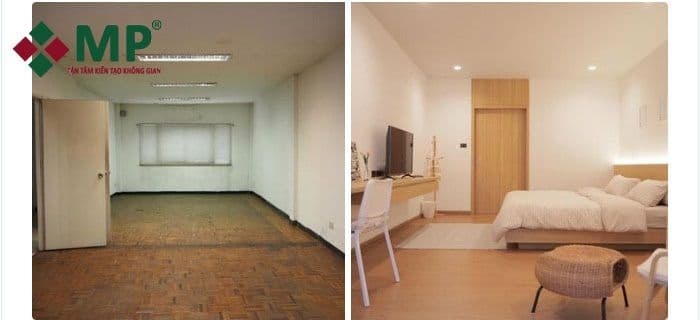 sửa chữa nhà phố 2 tầng xập xệ trở thành hiện đại