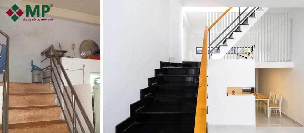 cầu thang sau khi được cải tạo