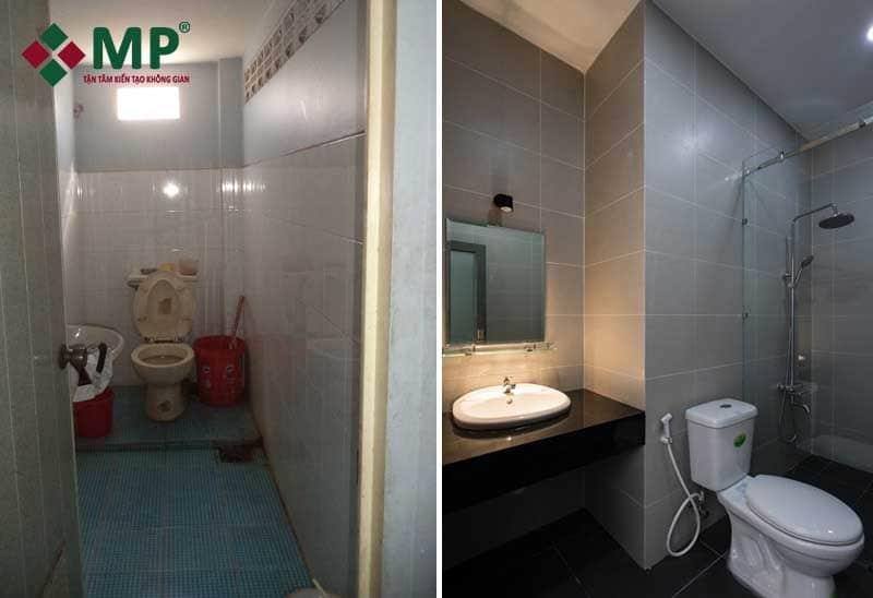 khu vực nhà vệ sinh sau cải tạo